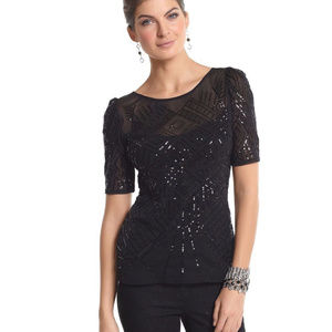NEW White House Black Market Women EMBELLISHED Top